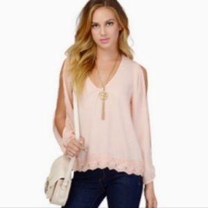 Tobi Cold Shouder Sheer Lace Trim Pale Pink Blouse